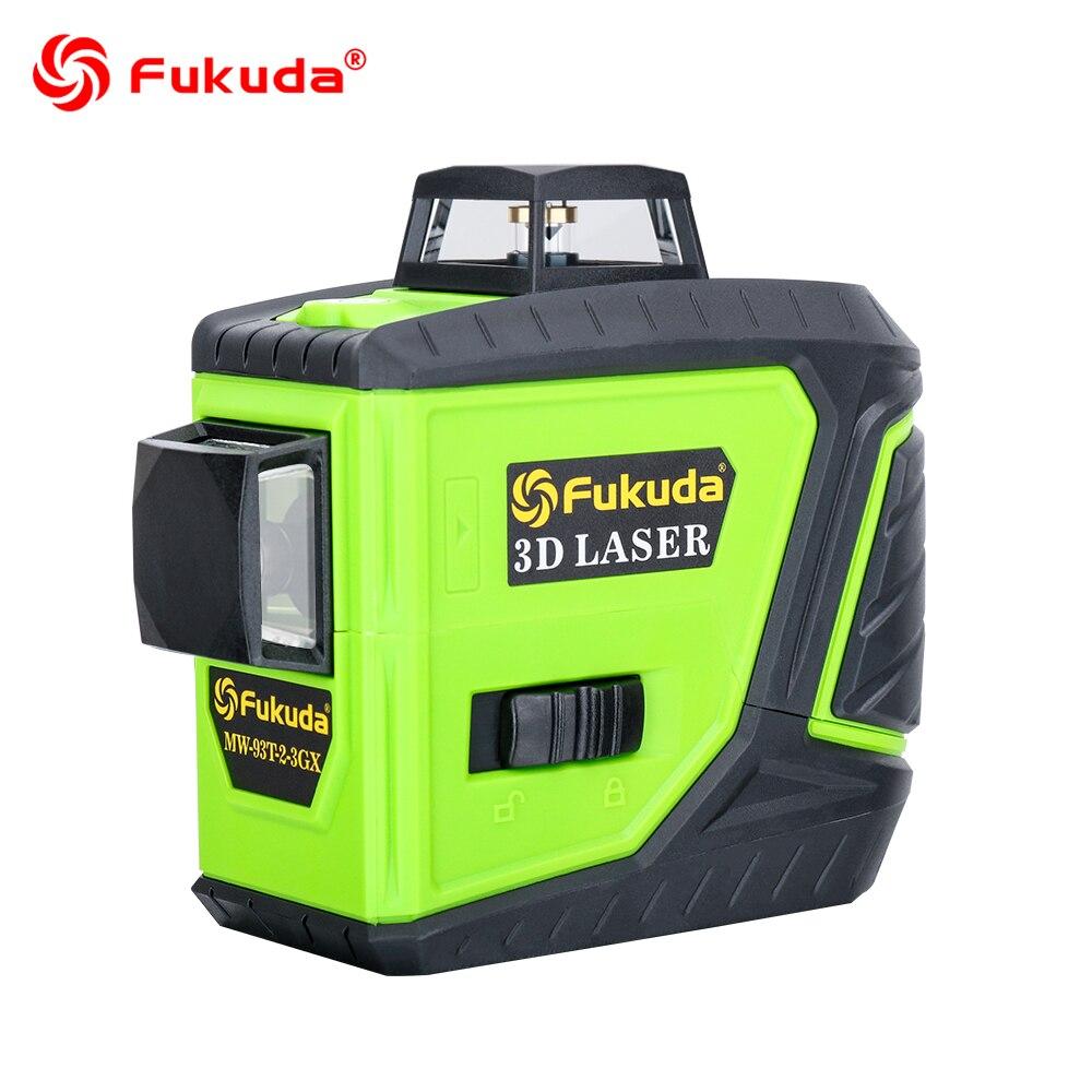 Fukuda rotary laser level 360 12 lines 3D green beam laser leveler Self-Leveling Horizontal Vertical Cross laser line MW-93T new